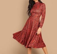 Orange Mock Neck Snakeskin Print Fit and Flare A Line Shift Dress Women - $45.23
