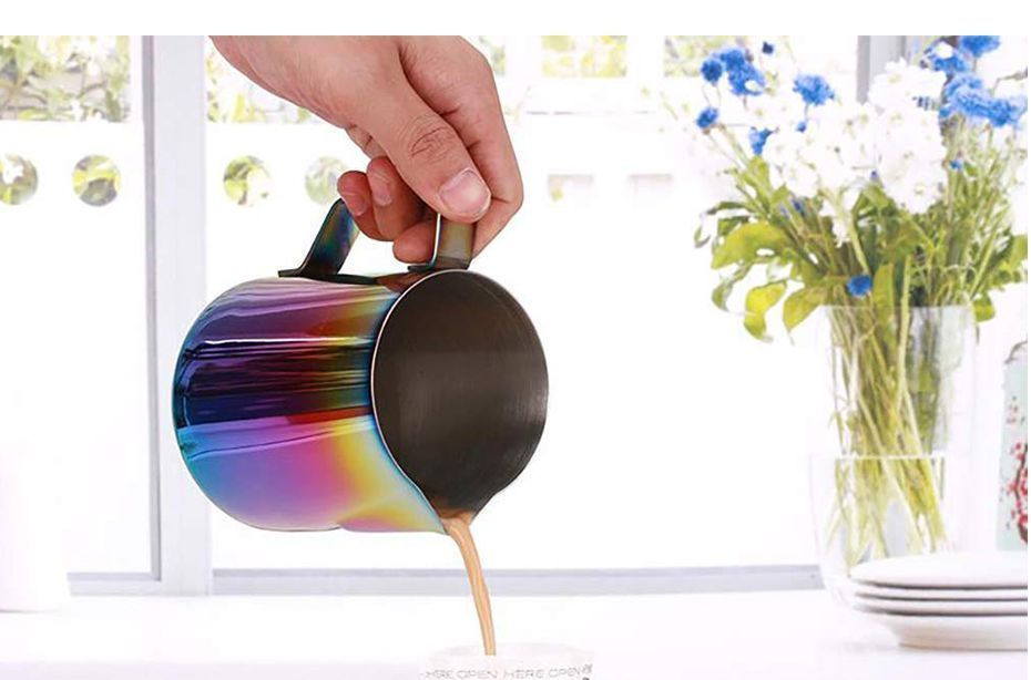 Milk Pitcher Frothing Cup Stainless Steel Coffee Jug Rainbow Espresso Latte Tea image 7
