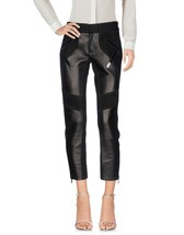 Multimedia Black Suede & Lather Cropped Hot Women's 100% Genuine Soft Skin Pants