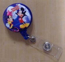 Mickey Minnie Mouse badge reel ID Card holder lanyard retractable Goofy Disney - $8.75