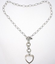 925 Silver Necklace Chain Oval, circles and Heart, Pendants, Satin image 2