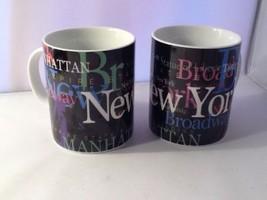 New York City Souvenir Porcelain Coffee Mugs by Jay Joshua Two Mugs - $19.99