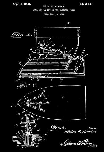 Primary image for 1928 - Steam Supply Device For Electric Irons - W. Slonaker - Patent Art Poster