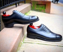 Handmade Men's Black Two Tone Dress/Formal Oxford Leather Shoes image 3
