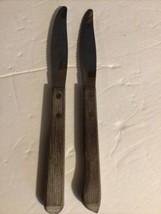 2 Vintage Ekco Forge Stainless Steak Knives Serrated Wood Handle Lot - $19.79