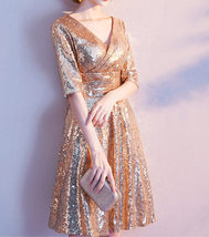 Knee Length Black Gold Sequin Dress Sleeved V Neck Sequin Dress Wedding Dress image 10