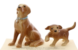 Hagen-Renaker Miniature Ceramic Dog Figurine Golden Labrador Sitting with Pup
