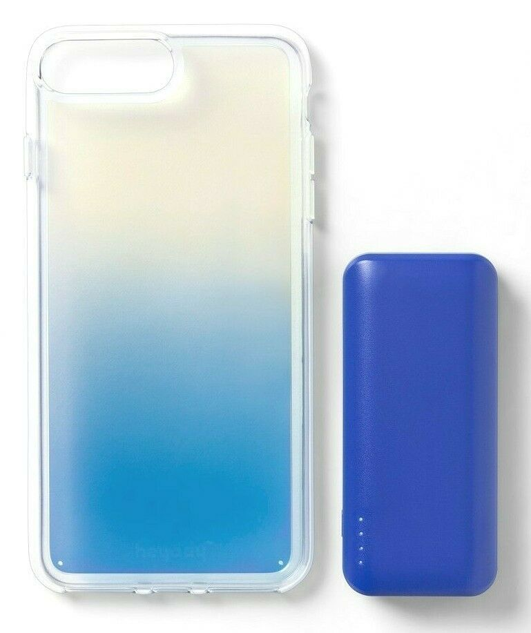 heyday Cool Blue Iridescent Apple iPhone 6, 6S, 7 or 8 Case with Power Bank NEW
