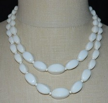 VTG AUSTRIA Signed White Milk Glass Bead Beaded Gold Tone Necklace - $29.69