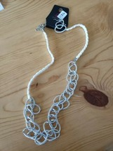 1136 Silver Links W/ White Cord Necklace Set (New) - $8.58