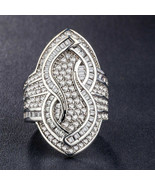 925 sterling silver stamped statement sapphire ring size 8 - $64.35