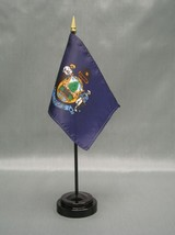 "MAINE 4X6"" TABLE TOP FLAG W/ BASE NEW US STATE DESKTOP HANDHELD STICK FLAG - $4.95"