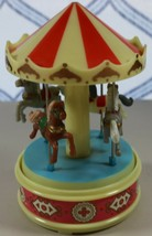 Vintage Yaps Wind Up 4 Horse Carousel Plastic Music Box Plays a Carousel... - $28.92