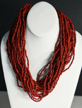 "20"" Vintage Oxblood Beads Hand Made Indian Necklace Asian Choker 28 Strands - $18.99"