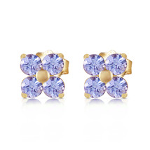 1.15 Carat 14K Solid Gold Stud Earrings Natural Tanzanite - $207.23