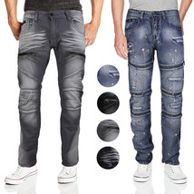 Contender Men's Cotton Moto Quilted Zip Distressed Ripped Destroyed Denim Jeans