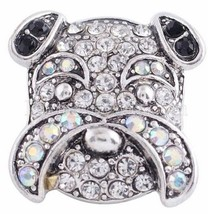 Clear Opal Black Rhinestone Dog Pet 20mm Snap Charm For Ginger Snaps Jew... - $6.26