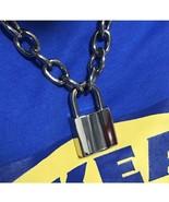 Unisex Handmade Chain Necklace Heavy Duty Square Lock Padlock Choker Met... - $24.69