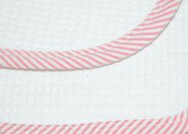 EllieO Seersucker Bib And Burp Cloth Set White With Pink Striped Trim image 4