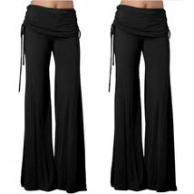 Elegant Women Trousers Plus Size False Two Pieces Wide Leg Pants