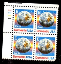 USPS Stamps - US Postage Stamps 1988 EARTH Domestic E - Plate Block - $6.95