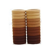24 PCS Fashion Durable Seamless No-damage Elastics Ponytail Holders, COFFEES