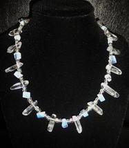 "16 1/2"" genuine clear quartz wand, and artglass bead necklace - $78.00"