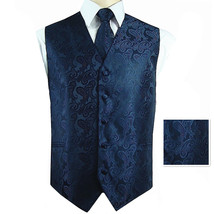 Navy Blue Paisley Tuxedo Suit Dress Vest Waistcoat & Neck tie and Pocket... - $22.75+