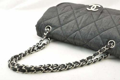 CHANEL Nylon Matelasse Chain Shoulder Bag Black Auth 9576 **Powder image 7