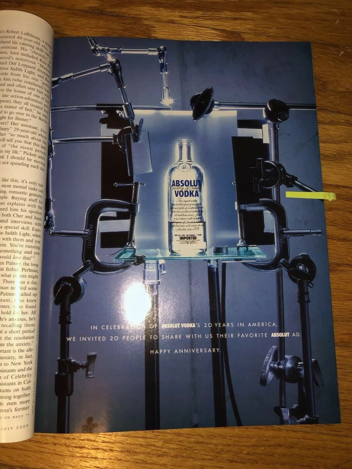 Primary image for Absolut 20th Anniversary Original Magazine Ad  Collection