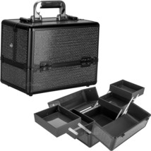 Black Krystal 2-Tiers Accordion Trays Makeup Cosmetic Case - C4211 - $59.99