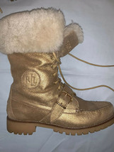 Lauren Ralph Lauren Women Zabby Metallic Shearling Trim Boots Gold Suede 7 B 400 - $89.00