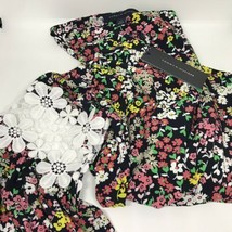 Tommy Hilfiger Flowered Blouse With Lace SLEEVES.NWT.MSRP.$69.50 - $60.78