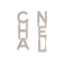 AUTH NEW CHANEL 2019 RUNWAY XL LETTER CHA NEL Crystal Dangle Drop Earrings