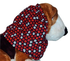 Handmade Dog Snood Black with Red White Paw Prints Cotton Size Large - $12.50