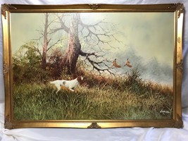 1 Fine Oil Painting Irish Setter Hunting Gun Dog & Pheasants In Flight L... - $1,252.75