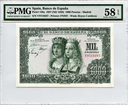 Spain: 1957 1,000 Pesetas PMG 58 EPQ (P-149a) - - $252.20