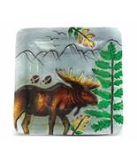 "Moose Art Glass Decorative 8"" Inch Square Plate Lodge New In Box - $24.70"