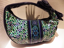 VERA BRADLEY Blue Rhapsody FRILL Handbag Purse Tote Bow Vinyl All My Love - $24.70