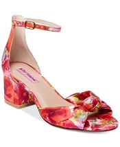 Betsey Johnson Chic Bright Floral Roses Ankle Strap Block Heel Wms Sanda... - $59.99