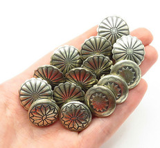 NAVAJO 925 Silver - Vintage 14 Pcs Etched Floral Pattern Round Buttons -... - $159.60