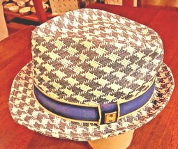 PETER GRIMM True Character Houndstooth Natural Fiber Moldable Fedora Hat... - $23.97