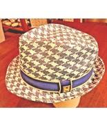 PETER GRIMM True Character Houndstooth Natural Fiber Moldable Fedora Hat... - $23.97