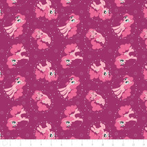 My Little Pony Pinkie Pie Fuchsia Hasbro Camelot 100% cotton fabric by t... - $14.69