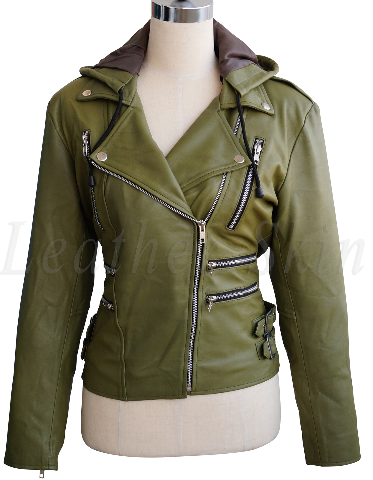 Womens green leather jacket with hood