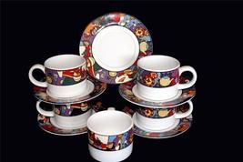 Vintage 10-Pc Sue Zipkin MARDI GRAS Cups/Saucers Bright Colors 1993 Good... - $29.99