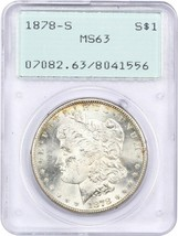 1878-S $1 PCGS MS63 (OGH Rattler Holder) - Morgan Silver Dollar - $92.15