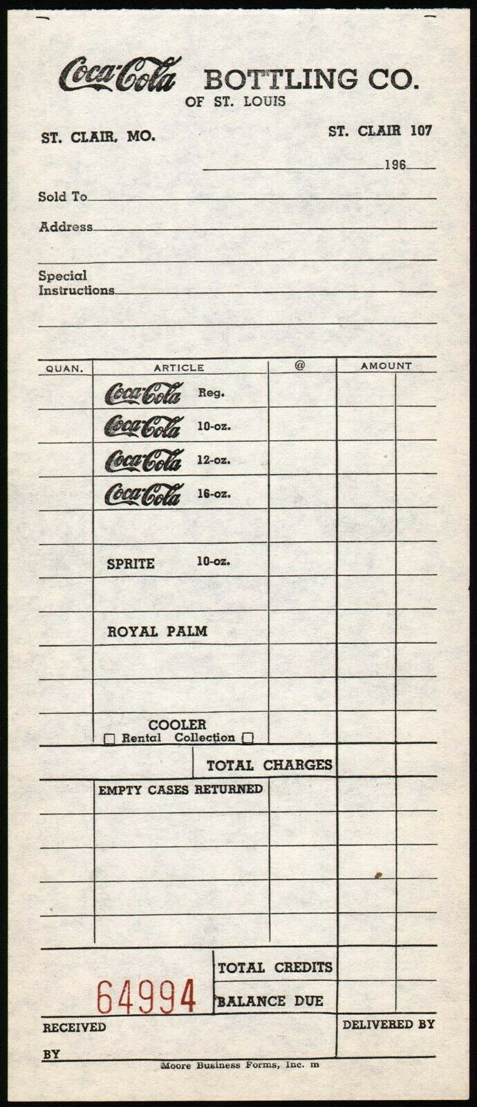 Primary image for Vintage receipt COCA COLA BOTTLING CO OF ST LOUIS St Clair Missouri 1960s nrmt+