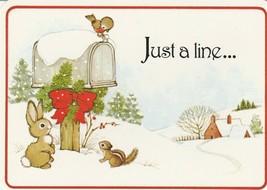 Vintage Postcard Christmas Bunny Chipmunk Bird at Mailbox Drawing Board ... - $6.92