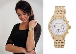 New + Box Women's Michael Kors MK6132 Ritz Gold Tone Steel Watch Chronograph - $117.81